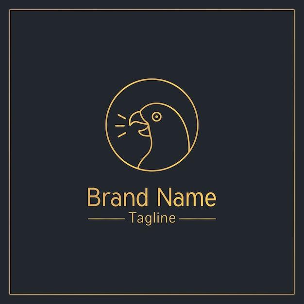 話すオウム黄金遊び心のあるロゴのテンプレート Premiumベクター