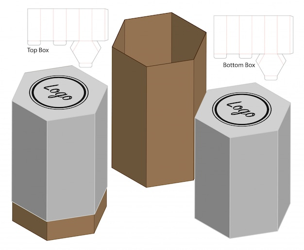 Tall box packaging die cut template design. 3d mock-up Premium Vector