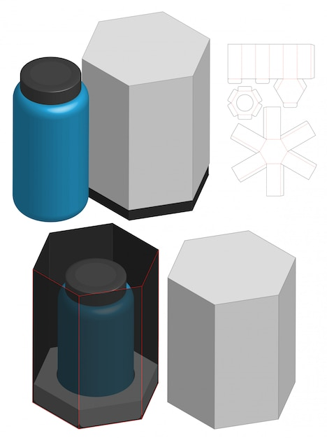 Tall box packaging die cut template design. 3d mock-up Premium Vector