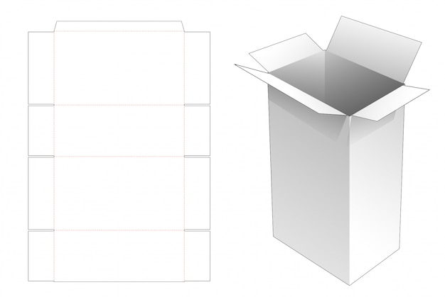 Tall delivery mail box with handles die cut template Premium Vector