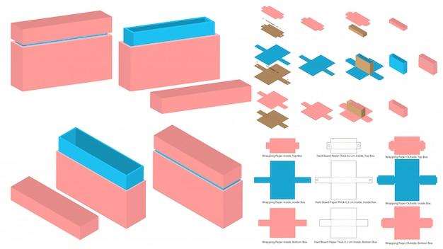 Tall Magnet Lock Box Packaging Die Cut Template Design 3d Mock Up