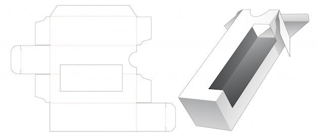 Tall packaging with corner window die cut template Premium Vector