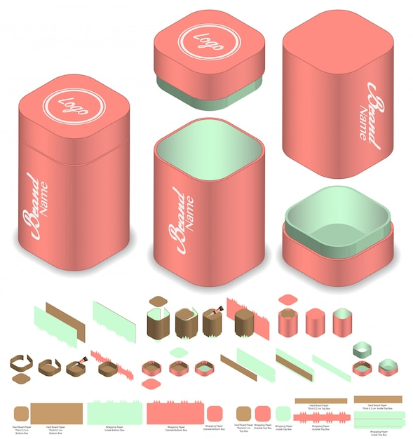 Tall round corner box packaging die cut template design. 3d mock-up Premium Vector