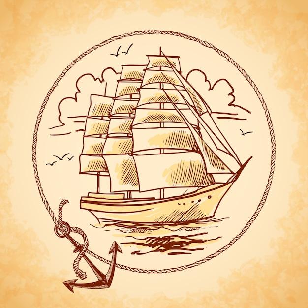 Tall ship emblem Free Vector