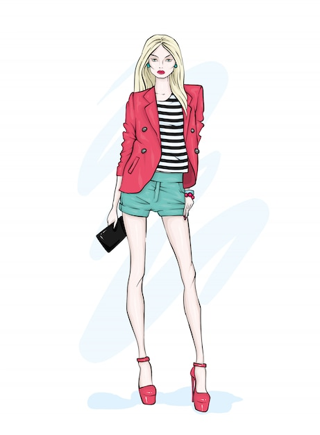 A tall slender girl in shorts, a jacket and high-heeled shoes. Premium Vector