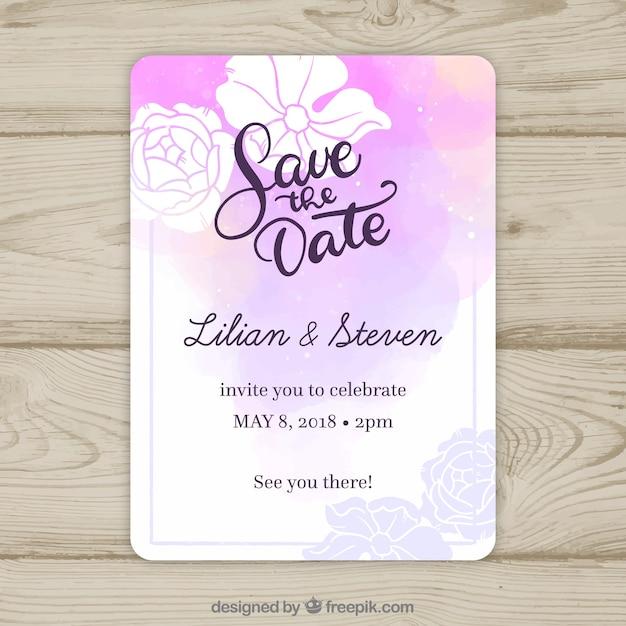 水彩フラワー結婚式招待状tamplate 無料ベクター