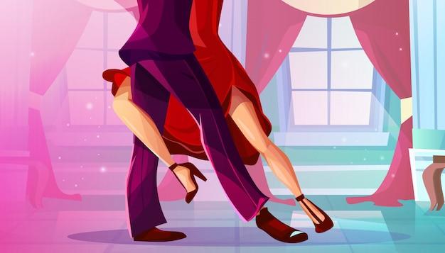 Tango in ballroom illustration of man and woman\ in red dress dancing Latin American dance