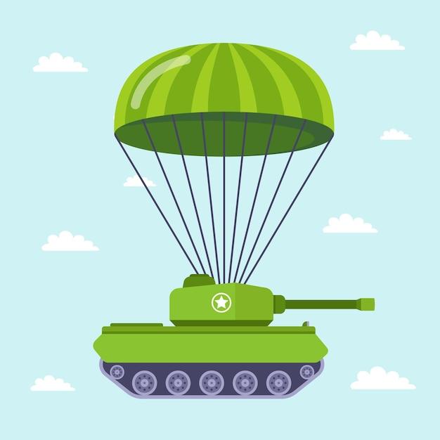 戦車はパラシュートで戦場を飛びます。 Premiumベクター