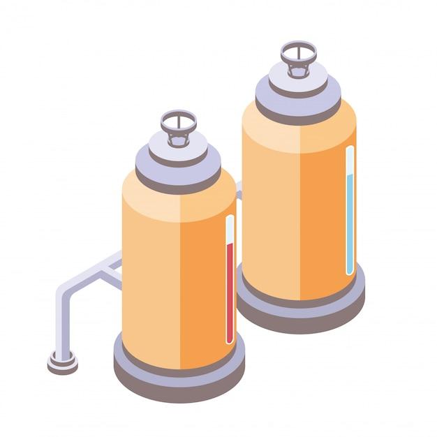 液体、化学、食品産業用のタンク。等角投影、白い背景の上の図。 Premiumベクター