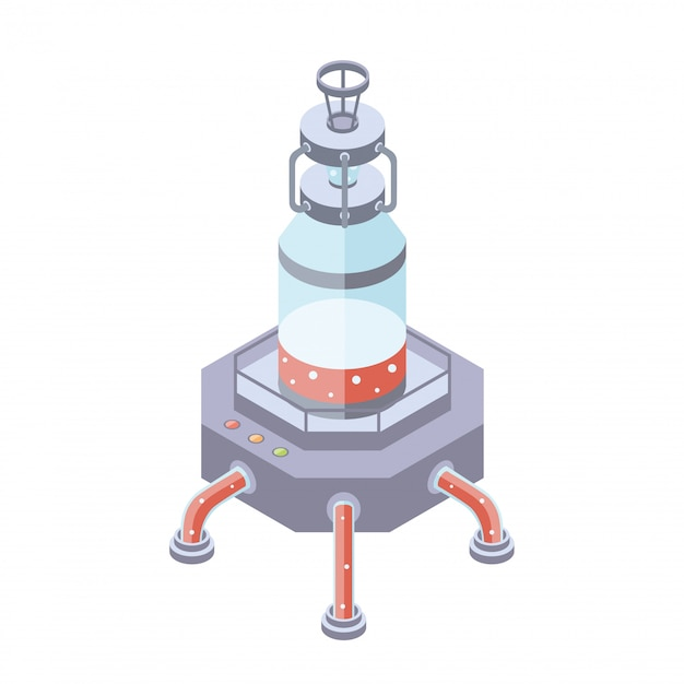 Tanks for liquid, chemical or food industry.  illustration in isometric projection,  on white background. Premium Vector