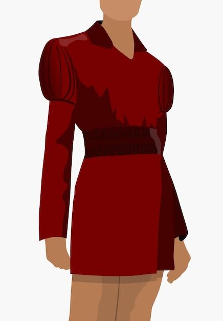 ポーズで立っている赤い古典的なドレスに身を包んだ日焼けした女性。 無料ベクター