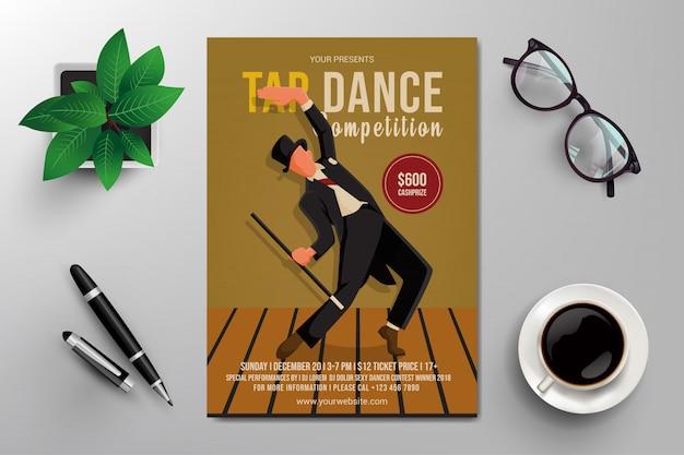 Tap dance competition flyer Premium Vector