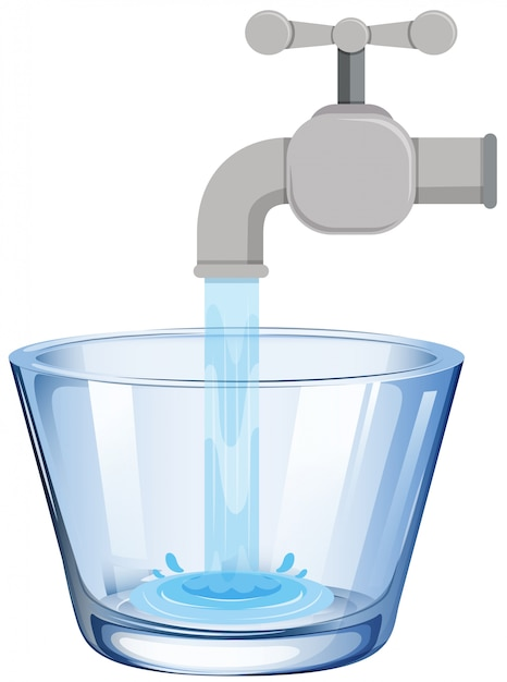 Tap water in the glass Premium Vector