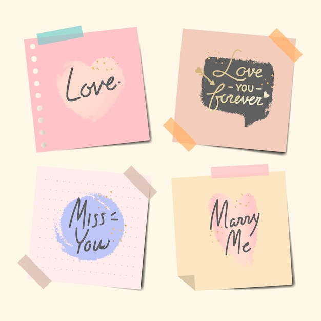 Taped notes of sweet messages Free Vector