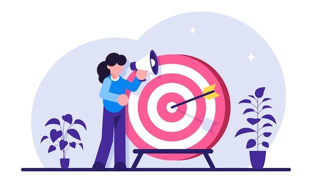 목표 달성, 동기 부여, 성공적인 계약. 확성기를 가진 여자는 목표 근처에 서있다. 비즈니스 비전. 프리미엄 벡터