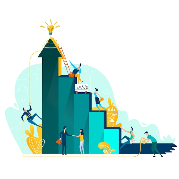 Target achievement and teamwork business concept Free Vector