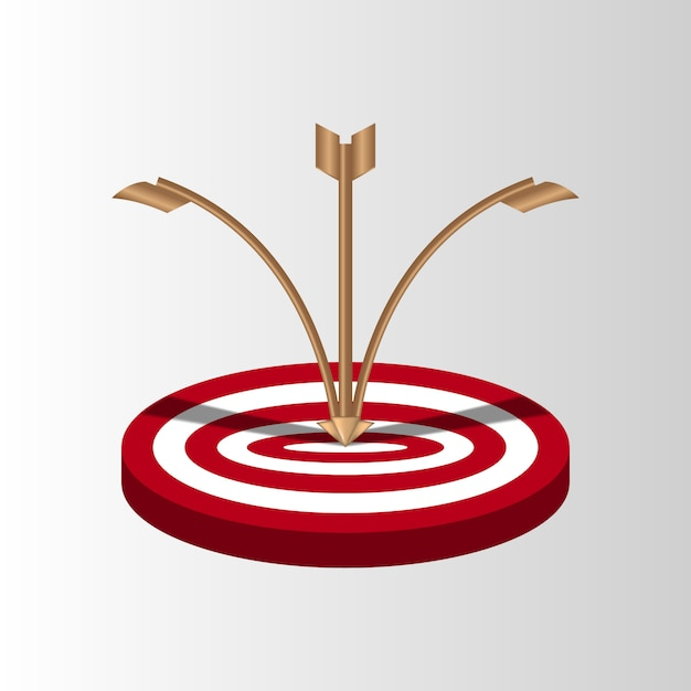 Target arrows missed shot miss, inaccurate attempts to hit archery target Premium Vector