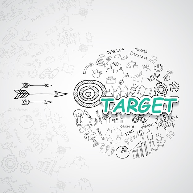 Target elements collection Free Vector
