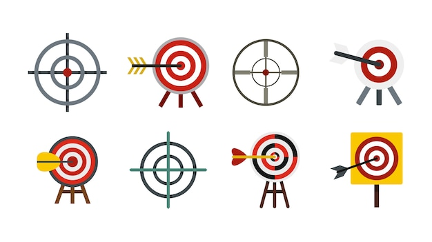 Target icon set. flat set of target vector icons collection isolated Premium Vector