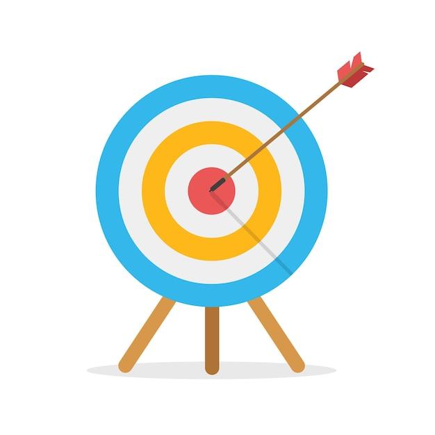 화살표가있는 정면에서 목표물이 중앙을 쳤다. 비즈니스 도전과 목표 달성 개념 흰색 배경에 고립. 비행 경로. 프리미엄 벡터