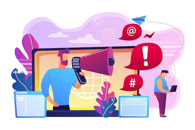Individua un individuo con laptop attaccato online da un utente con megafono. vergogna di internet, molestie online, concetto di azione di criminalità informatica. Vettore gratuito