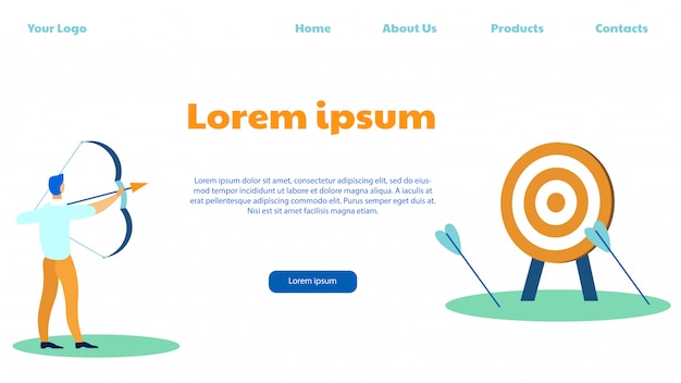Target marketing, shooting bow, try to reach aim. Premium Vector