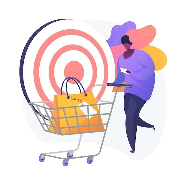 목표 판매. 고객은 정확성, 쇼핑 목록, 소비 아이디어를 끌어들입니다. 소매 서비스 고객, 쇼핑 카트 만화 캐릭터. 무료 벡터