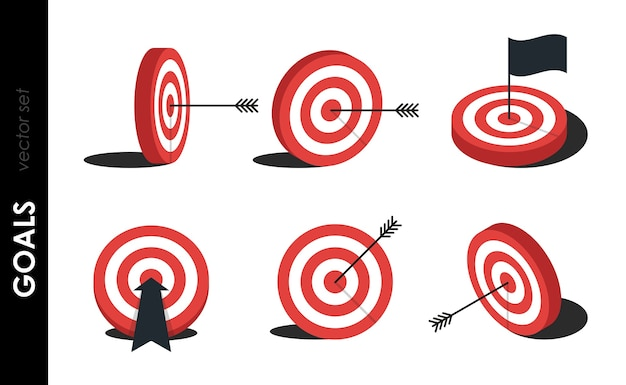 Target set. red aim, arrow, idea concept, perfect hit, winner, target goal icon. success abstract pin logo. concept of business strategy and challenge failure. Premium Vector
