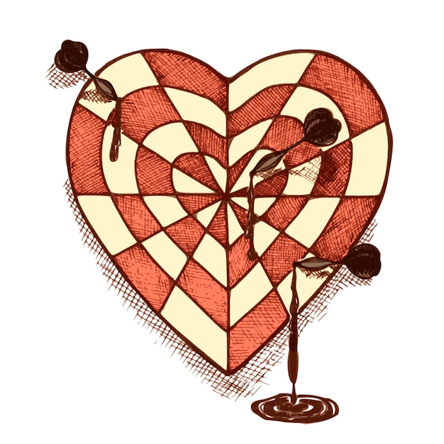 Target shaped heart with arrows emblem Free Vector