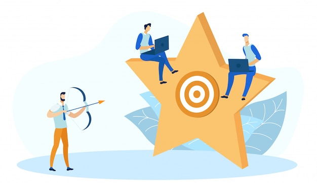 Target on star background, man working on laptop. Premium Vector