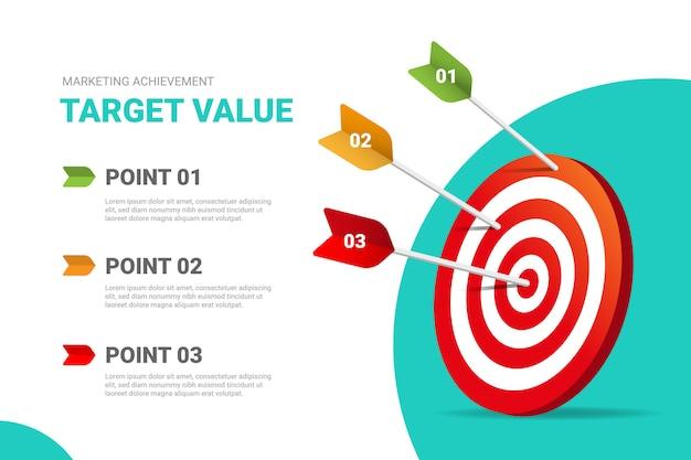 ステップ目標の3つの矢印のあるターゲット値。 Premiumベクター