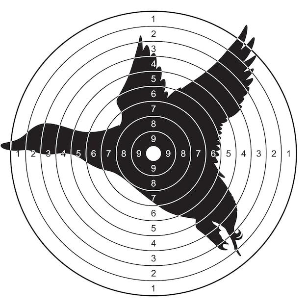 Мишень с силуэтом летящей утки для стрельбы, пикирования Premium векторы