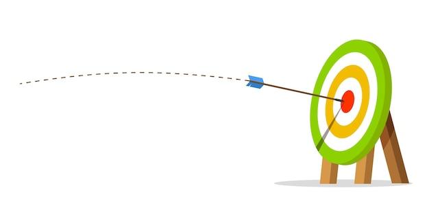 Мишень со стрелкой попала в центр. бизнес-задача и концепция достижения цели. полоса взлета. Premium векторы