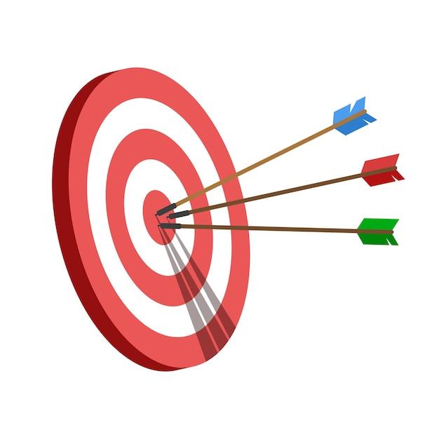 Цель со стрелками, порази цель. бизнес-задача и концепция достижения цели. Premium векторы