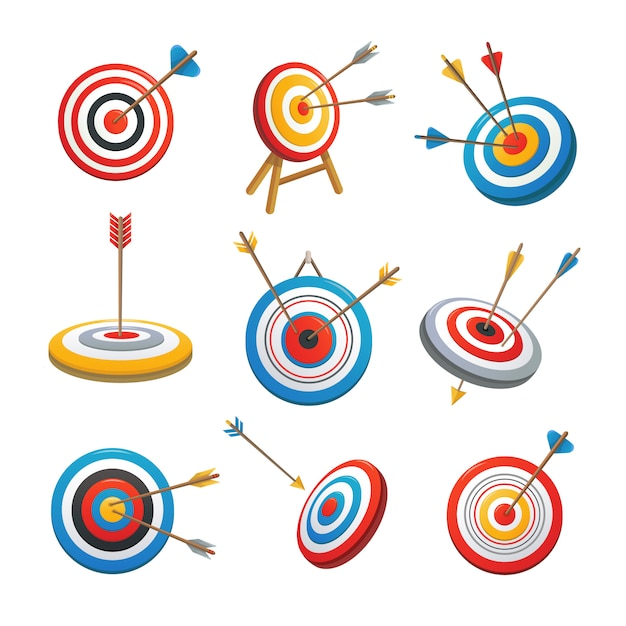 Target with arrow icons set Premium Vector