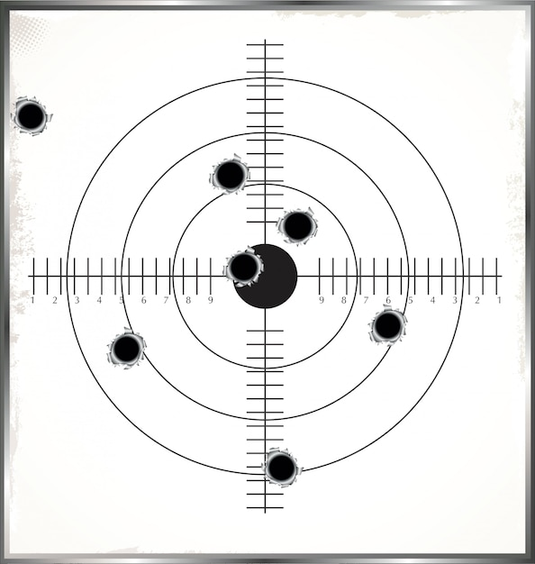 Target with bullet holes Premium Vector