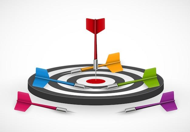 Target with darts. Premium Vector