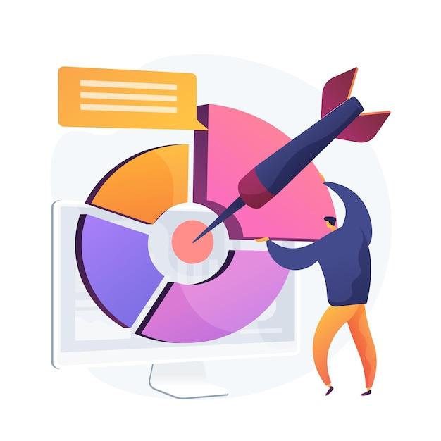 Целевой маркетинговый отчет, бизнес-презентация. деловой человек плоский характер объясняя статистику. социальные онлайн-анкеты, опросы, анализ результатов. Бесплатные векторы