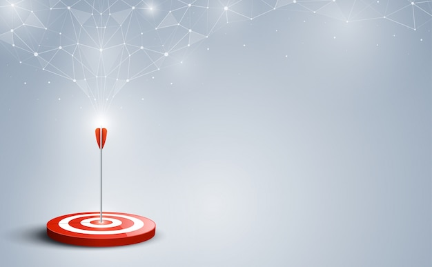 Targets hit in the center by an arrow with abstract background Premium Vector