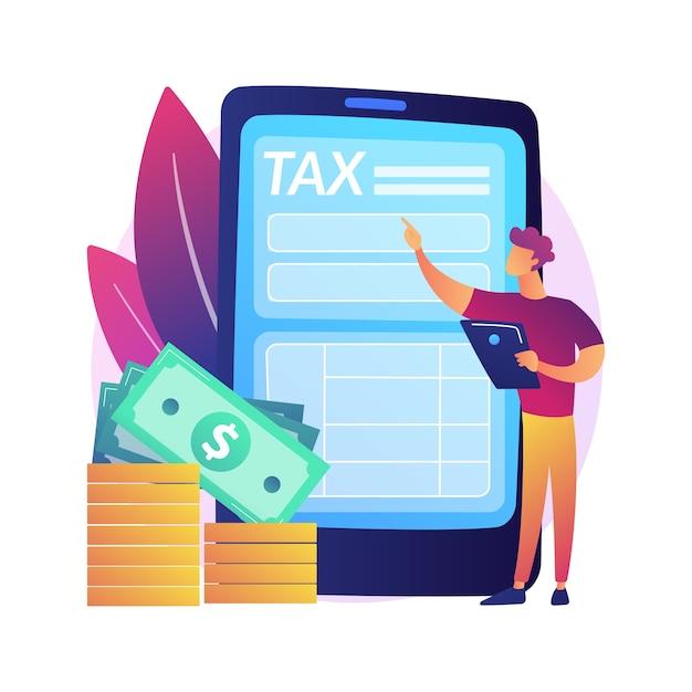 Погашение тарифа. компенсация за онлайн-услуги. долг, упущенная задача, вознаграждение. вмененные затраты и завышенные налоги. человек, стоящий с телефоном в руках. изолированные концепции метафоры иллюстрации. Бесплатные векторы
