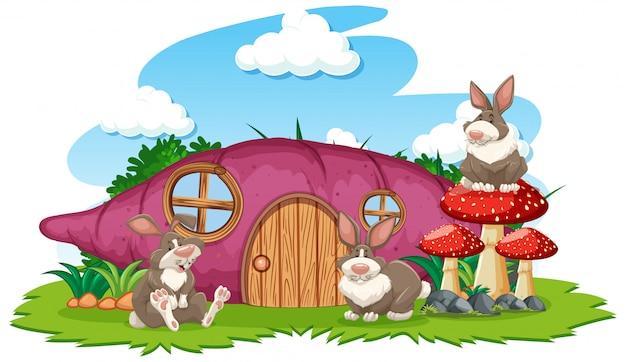 白い背景の上の3つのウサギの漫画のスタイルの太郎家 無料ベクター