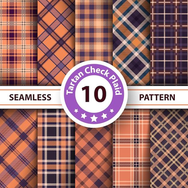 Tartan, merry christmas check plaid seamless patterns. Premium Vector
