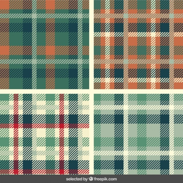 Tartan patterns set Free Vector