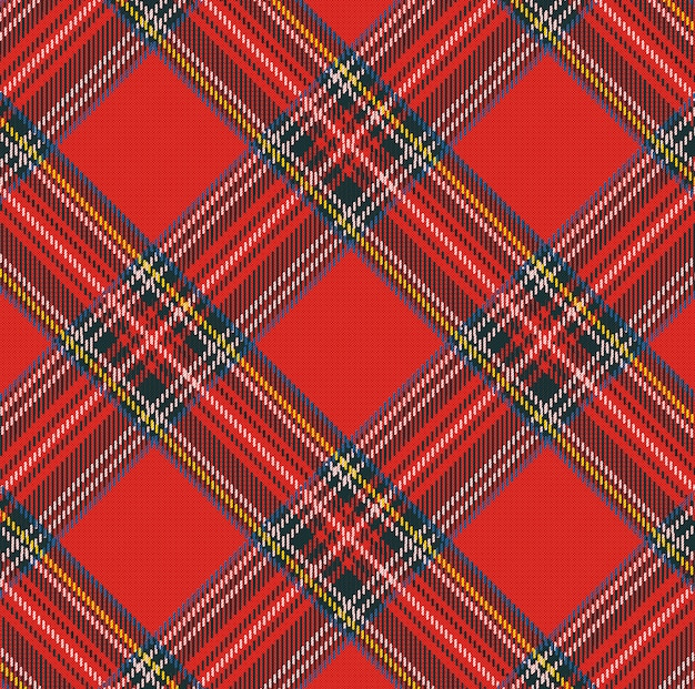 Tartan plaid vector pattern background with fabric texture Premium Vector