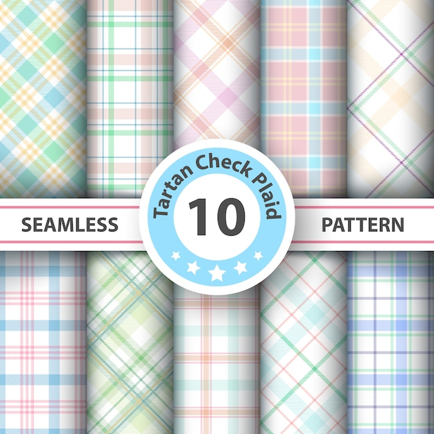 Tartan seamless patterns Premium Vector