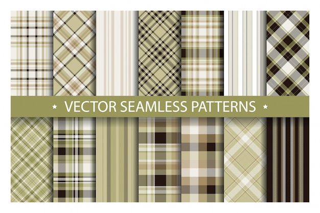 Tartan set pattern seamless plaid background Premium Vector