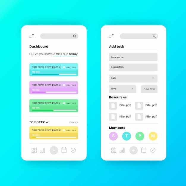 Интерфейс приложения для управления задачами Бесплатные векторы