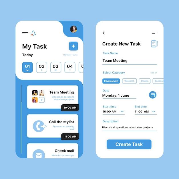 Interfaccia dell'app per la gestione delle attività Vettore gratuito