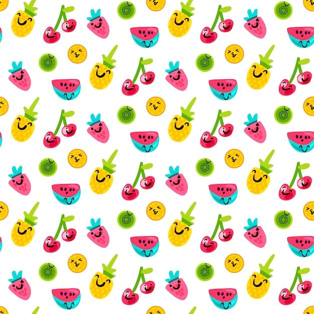 おいしい、甘い夏のフルーツアートパターン Premiumベクター