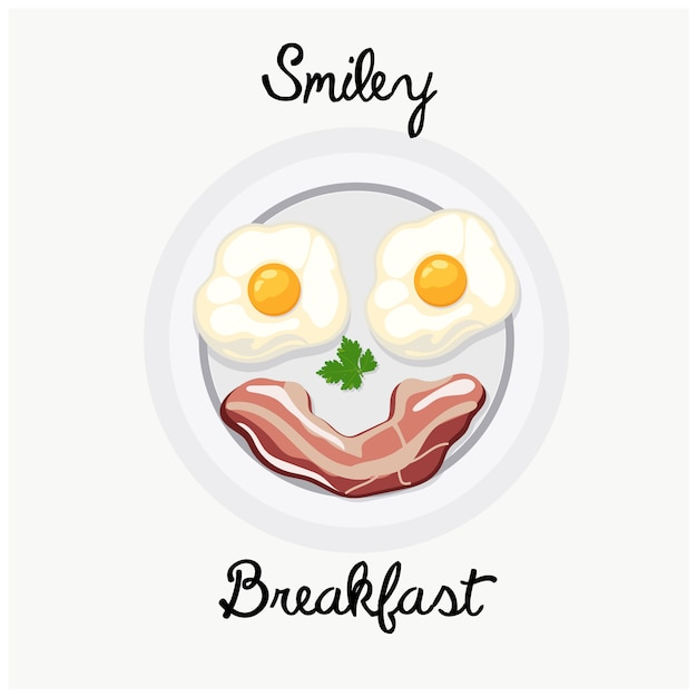Tasty breakfast food plate smile illustration. Premium Vector